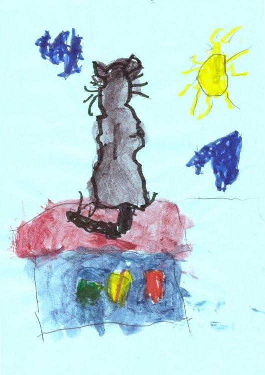 рисунок в смешанной технике «Кот-мечтатель». Рахматуллин Роман.jpg